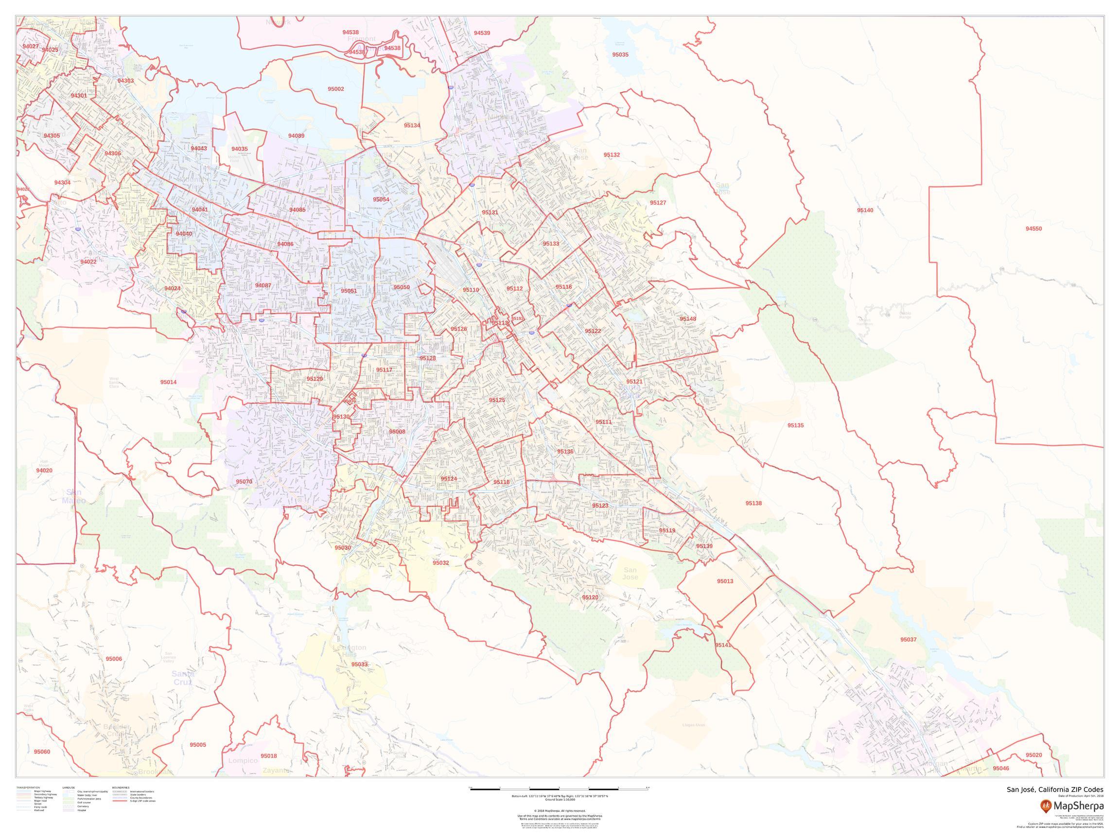 San Jose CA ZIP Code Map Laminated