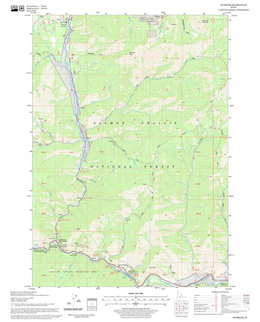 Sunbeam Quadrangle Map, Idaho