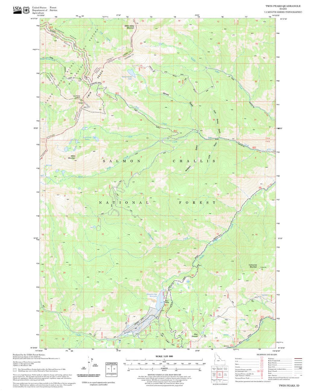 Twin Peaks Quadrangle Map, Idaho