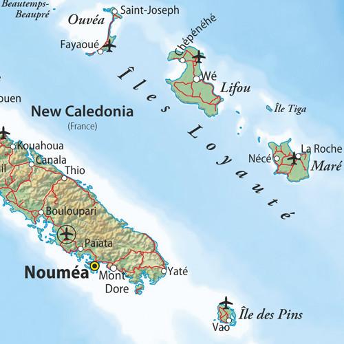 Map of New Caledonia and Vanuatu
