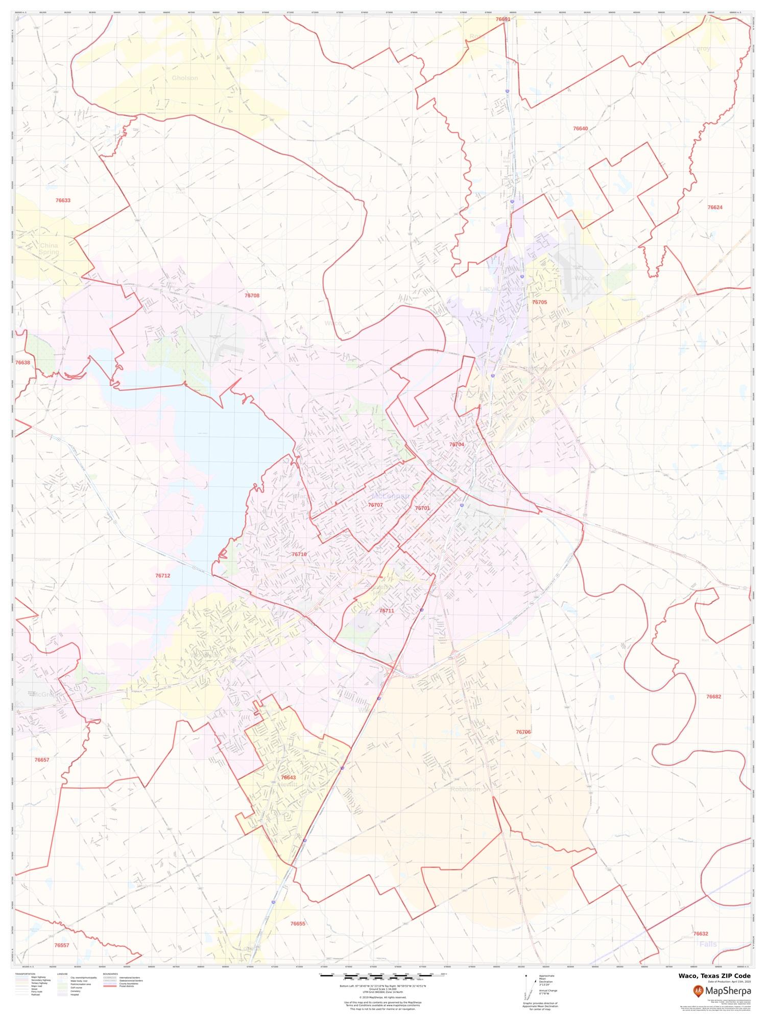 Waco Zip Code Map Waco Texas Zip Code Map