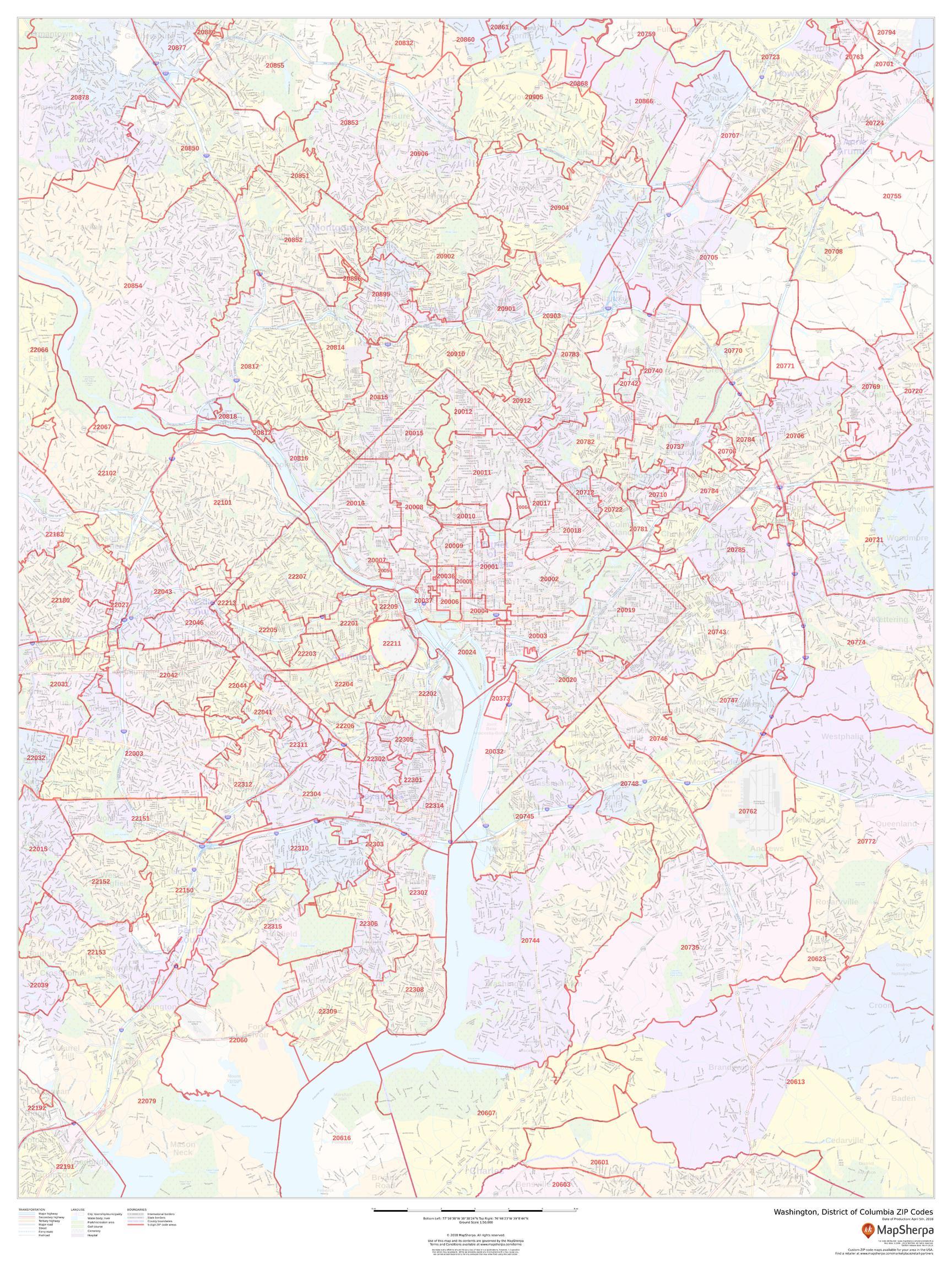 Picture of: Washington Dc Zip Code Map Laminated Maps