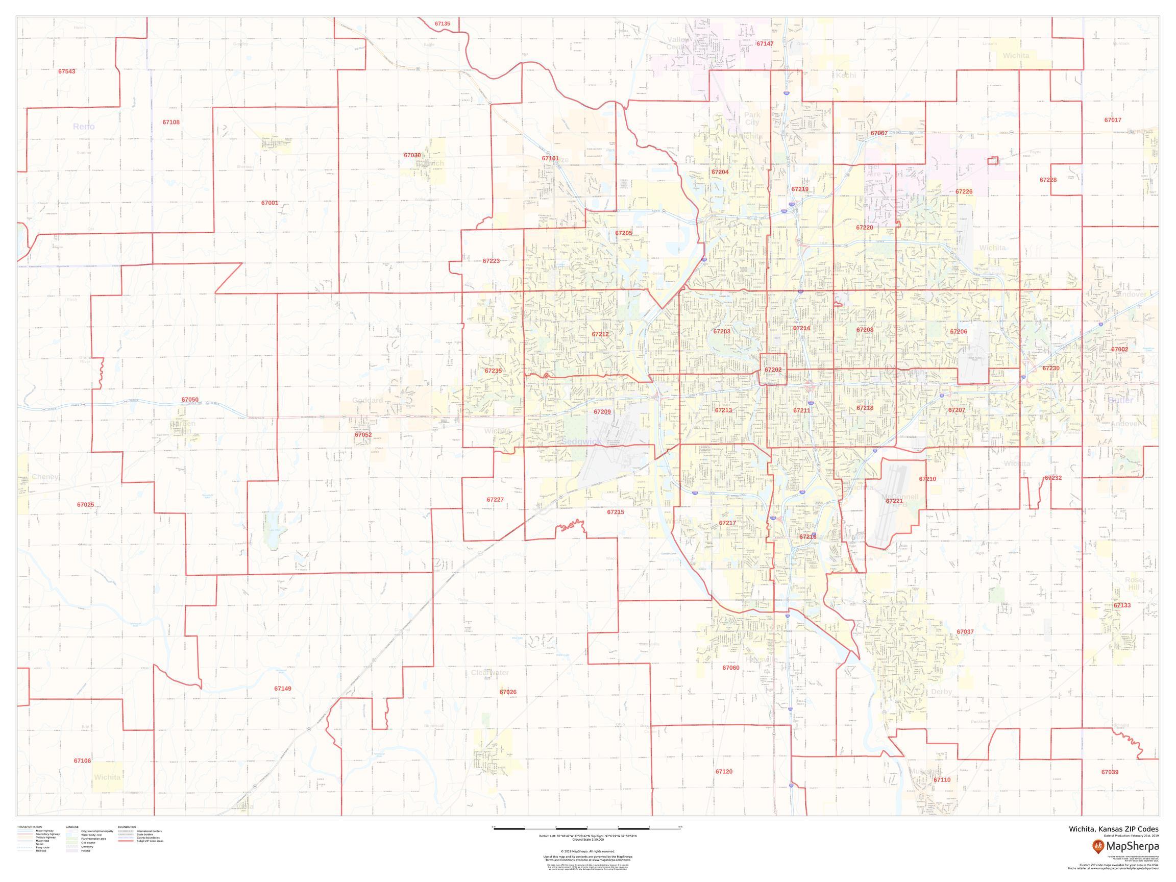 Wichita, Kansas ZIP Codes Map