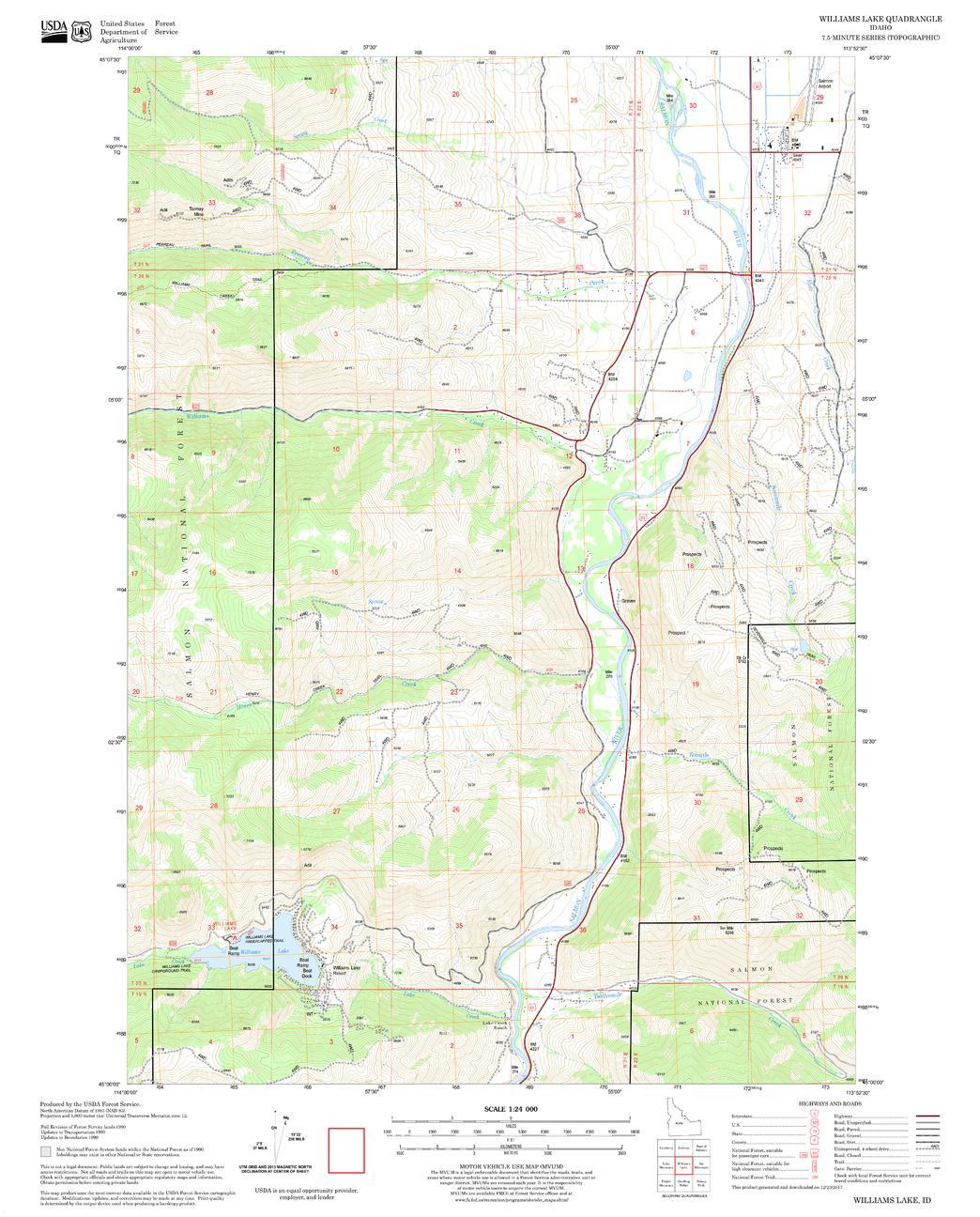 Williams Lake Quadrangle Map, Idaho