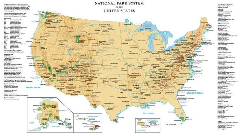 US National Park Sysytem Map